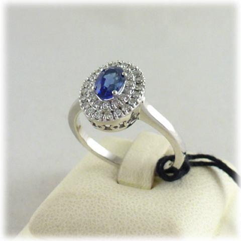 Anello in oro bianco zaffiro blu e diamanti