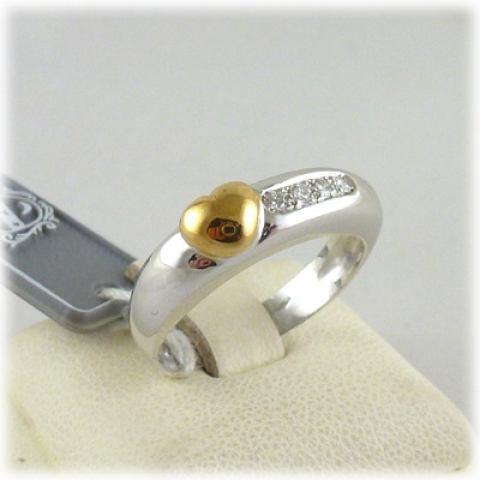 Anello veretta in oro bianco e cuore giallo 18 kt e diamanti