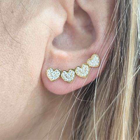 mono orecchino 4 cuori argento 925