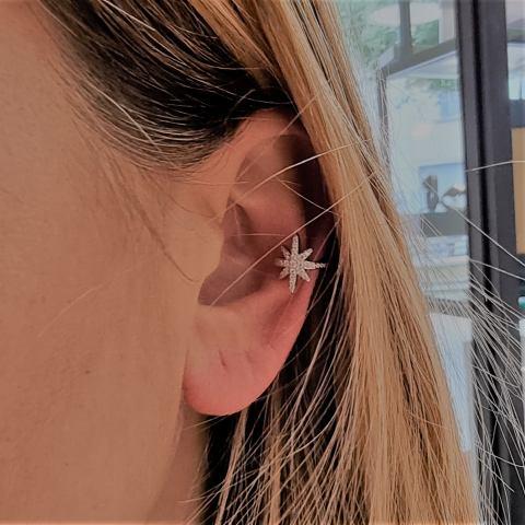 Mono orecchino ear cuff Stella polare argento 925