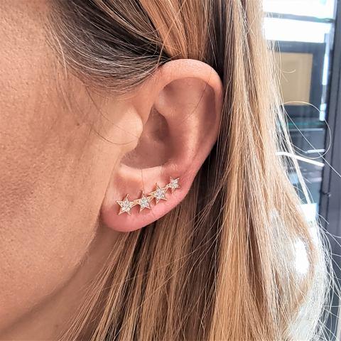 mono orecchino 4 stelle argento 925
