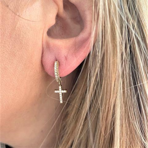 orecchini hoops con croce in argento 925