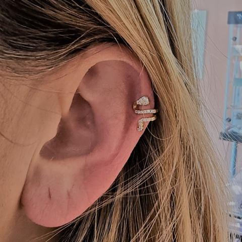 mono orecchino ear cuff  serpente argento 925